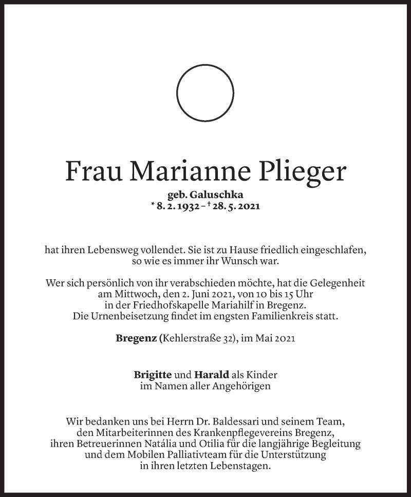 Todesanzeige für Marianne Plieger vom 31.05.2021 aus Vorarlberger Nachrichten
