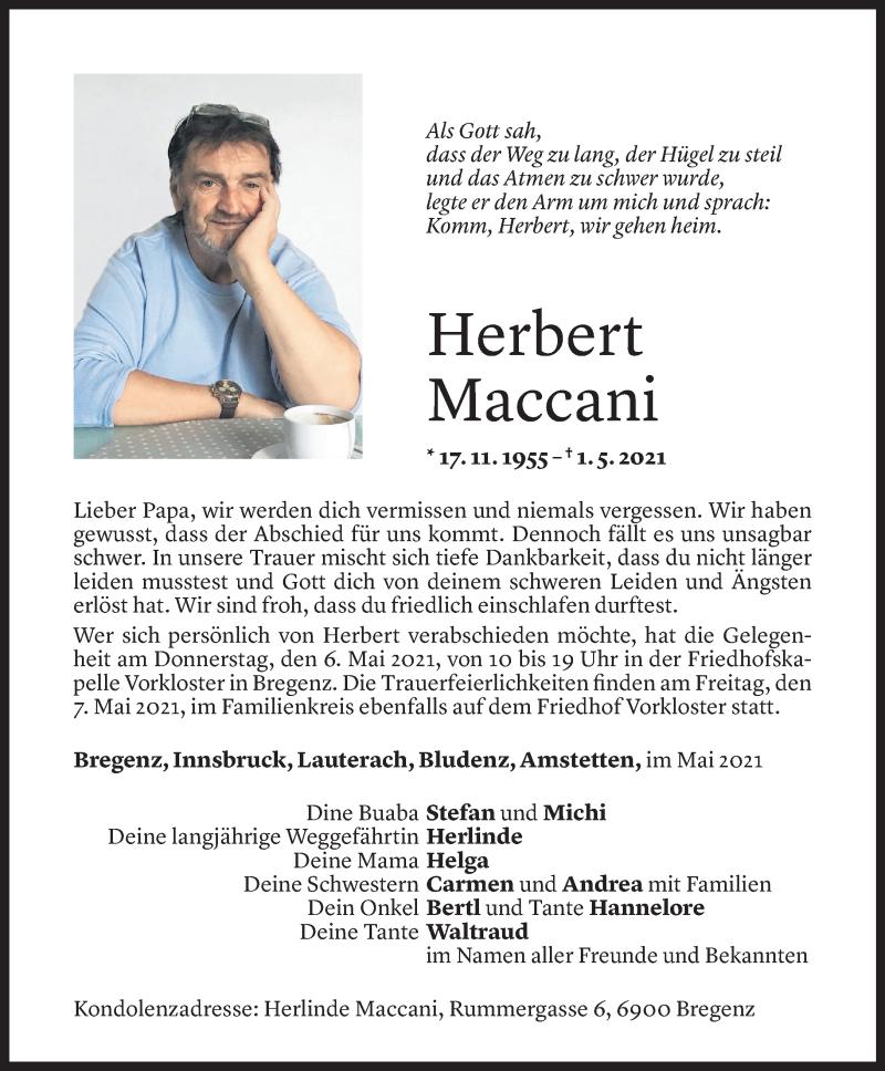 Todesanzeige für Herbert Maccani vom 03.05.2021 aus Vorarlberger Nachrichten