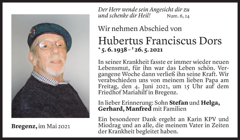 Todesanzeige für Hubertus Franciscus Dors vom 31.05.2021 aus Vorarlberger Nachrichten