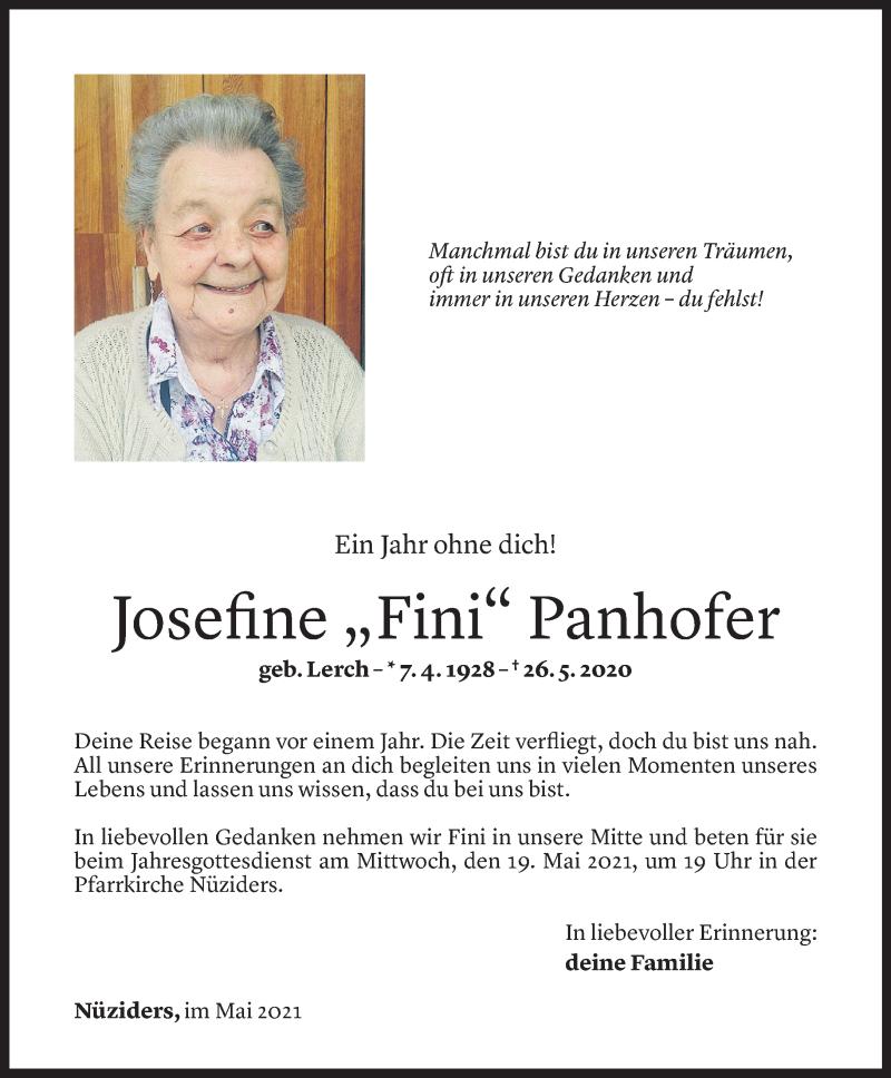 Todesanzeige für Josefine Panhofer vom 14.05.2021 aus Vorarlberger Nachrichten