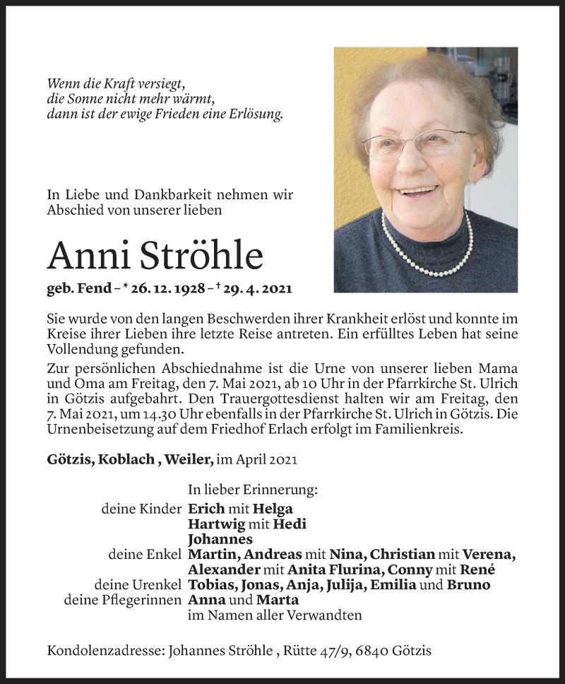 Todesanzeige für Anni Ströhle vom 04.05.2021 aus Vorarlberger Nachrichten