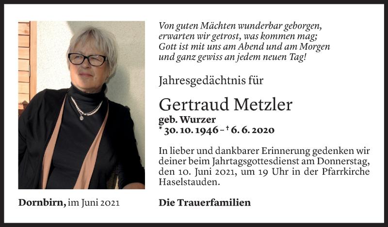 Todesanzeige für Gertraud Metzler vom 04.06.2021 aus Vorarlberger Nachrichten
