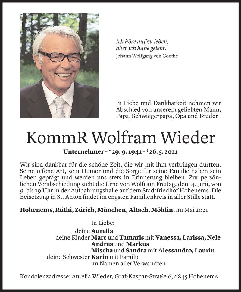 Todesanzeige für Wolfram Wieder vom 01.06.2021 aus Vorarlberger Nachrichten