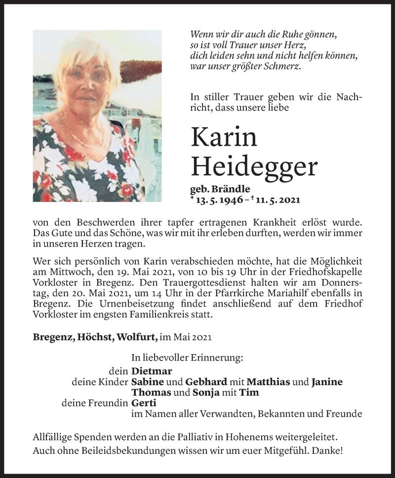 Todesanzeige für Karin Heidegger vom 14.05.2021 aus Vorarlberger Nachrichten