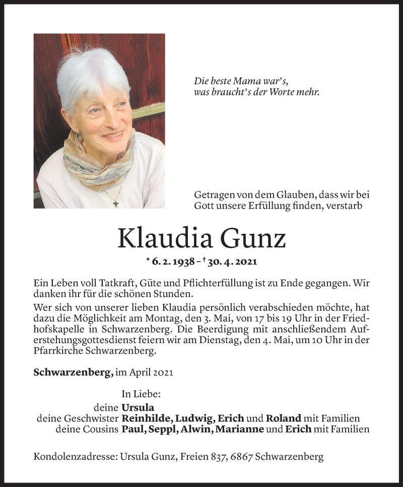 Todesanzeige für Klaudia Gunz vom 02.05.2021 aus Vorarlberger Nachrichten