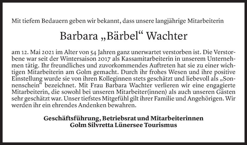 Todesanzeige für Barbara Wachter vom 14.05.2021 aus Vorarlberger Nachrichten