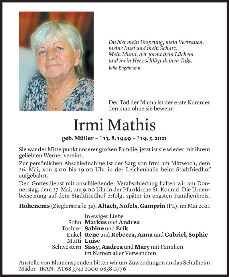 Todesanzeige für Irmi Mathis vom 22.05.2021 aus Vorarlberger Nachrichten