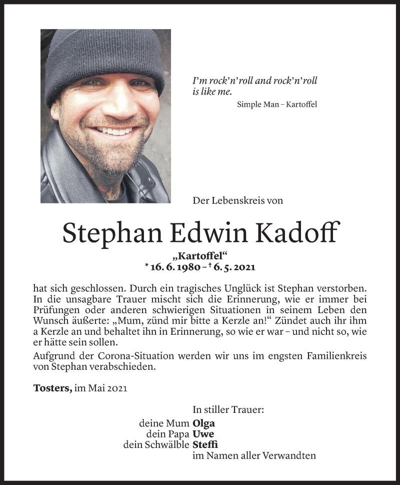 Todesanzeige für Stephan Edwin Kadoff vom 12.05.2021 aus Vorarlberger Nachrichten