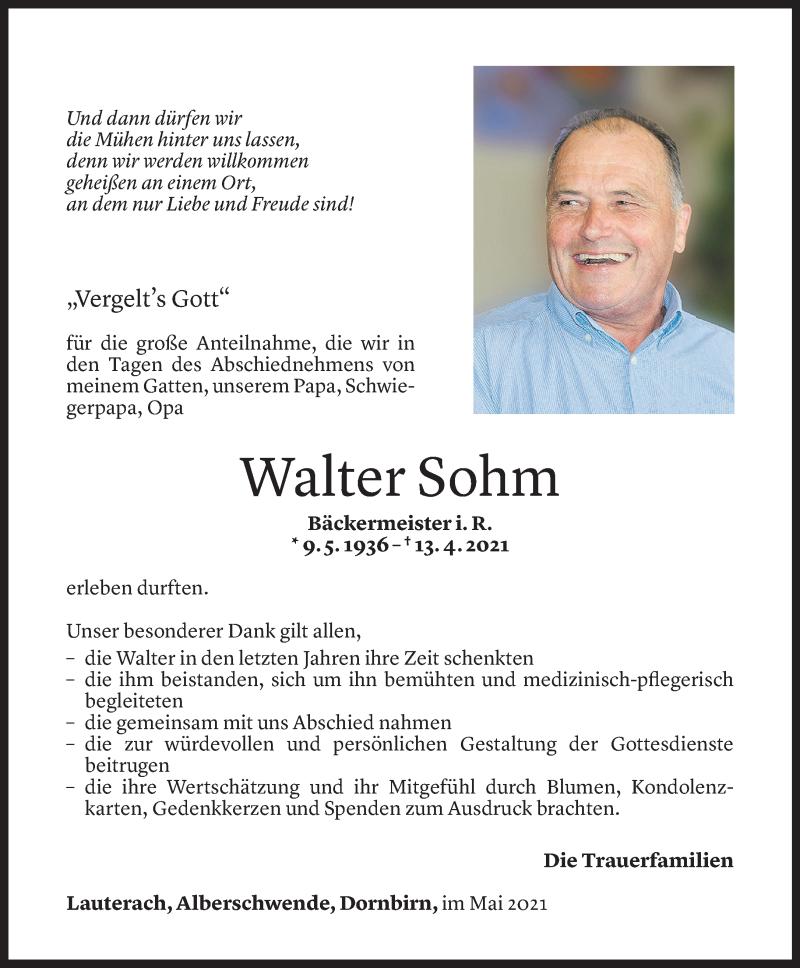 Todesanzeige für Walter Sohm vom 07.05.2021 aus Vorarlberger Nachrichten