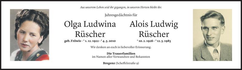 Todesanzeige für Olga Ludwina und Alois Ludwig Rüscher vom 04.05.2021 aus Vorarlberger Nachrichten