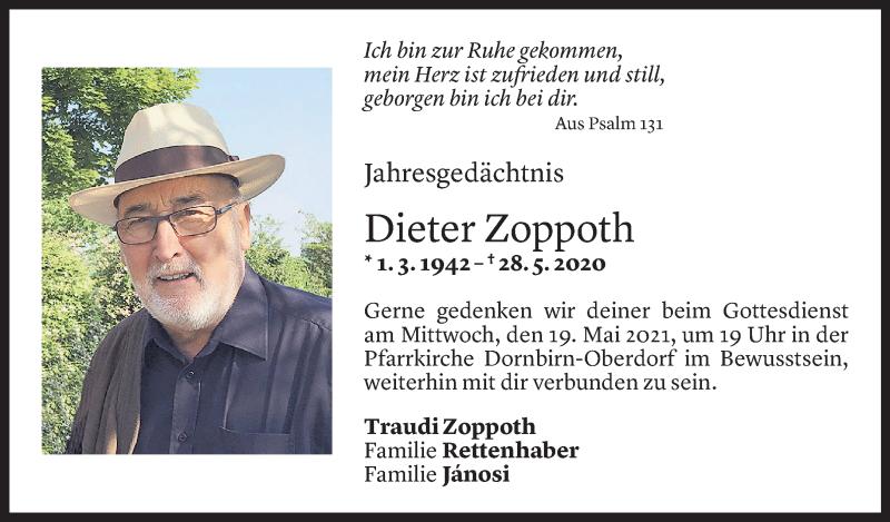 Todesanzeige für Dieter Zoppoth vom 15.05.2021 aus Vorarlberger Nachrichten