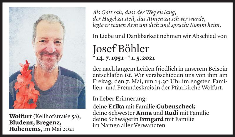 Todesanzeige für Josef Böhler vom 04.05.2021 aus Vorarlberger Nachrichten
