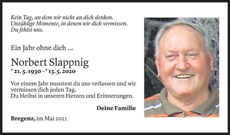 Todesanzeige für Norbert Slappnig vom 13.05.2021 aus Vorarlberger Nachrichten