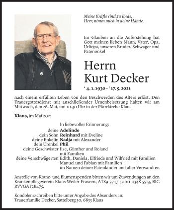 Todesanzeige von Kurt Decker von Vorarlberger Nachrichten