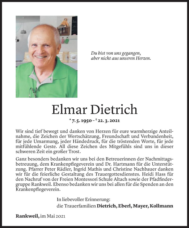 Todesanzeige für Elmar Dietrich vom 07.05.2021 aus Vorarlberger Nachrichten