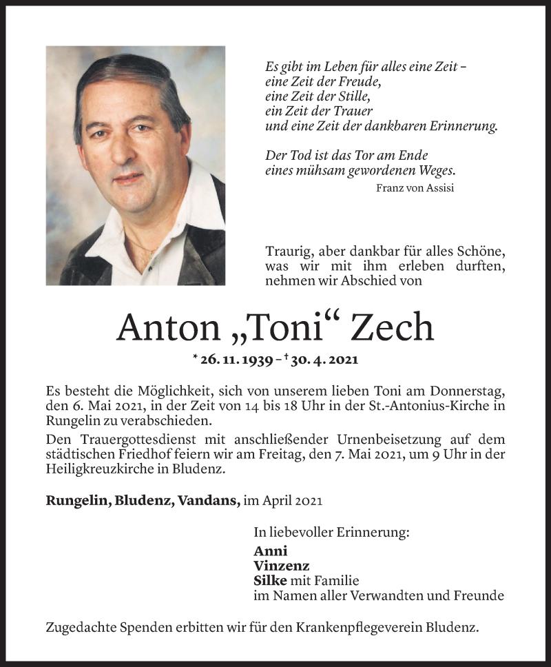 Todesanzeige für Anton Zech vom 04.05.2021 aus Vorarlberger Nachrichten
