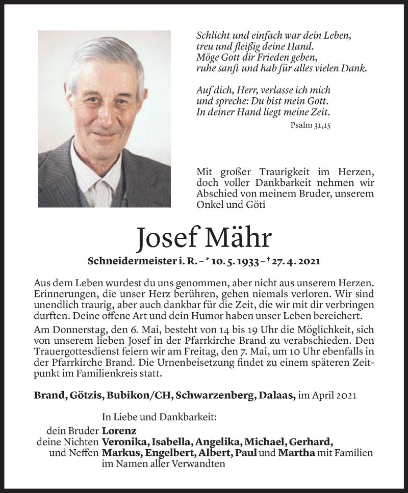 Todesanzeige für Josef Mähr vom 04.05.2021 aus Vorarlberger Nachrichten