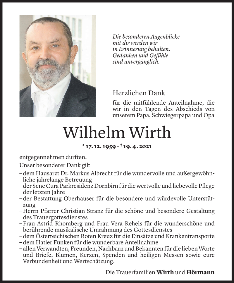 Todesanzeige für Wilhelm Wirth vom 06.05.2021 aus Vorarlberger Nachrichten