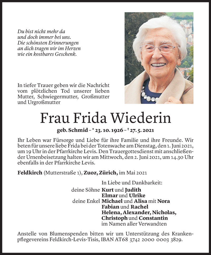 Todesanzeige für Frida Wiederin vom 28.05.2021 aus Vorarlberger Nachrichten