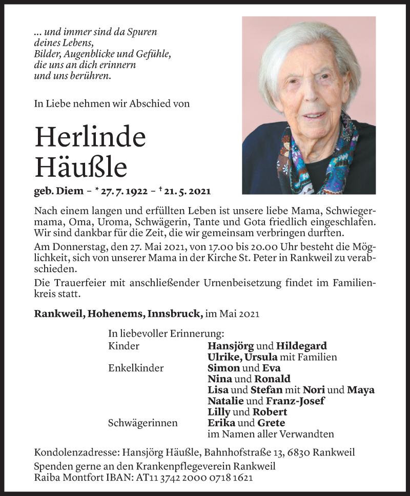 Todesanzeige für Herlinde Häußle vom 25.05.2021 aus Vorarlberger Nachrichten