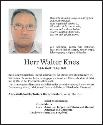 Todesanzeige von Walter Knes von Vorarlberger Nachrichten