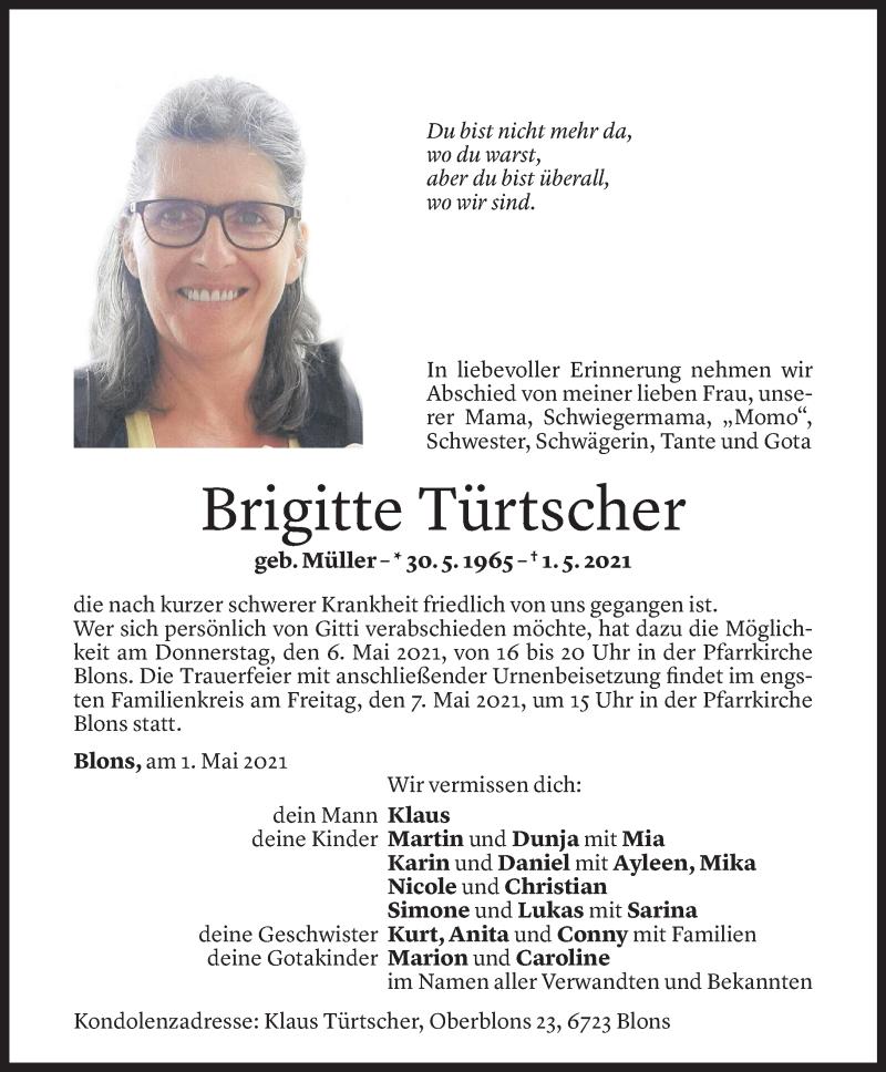 Todesanzeige für Brigitte Türtscher vom 03.05.2021 aus Vorarlberger Nachrichten