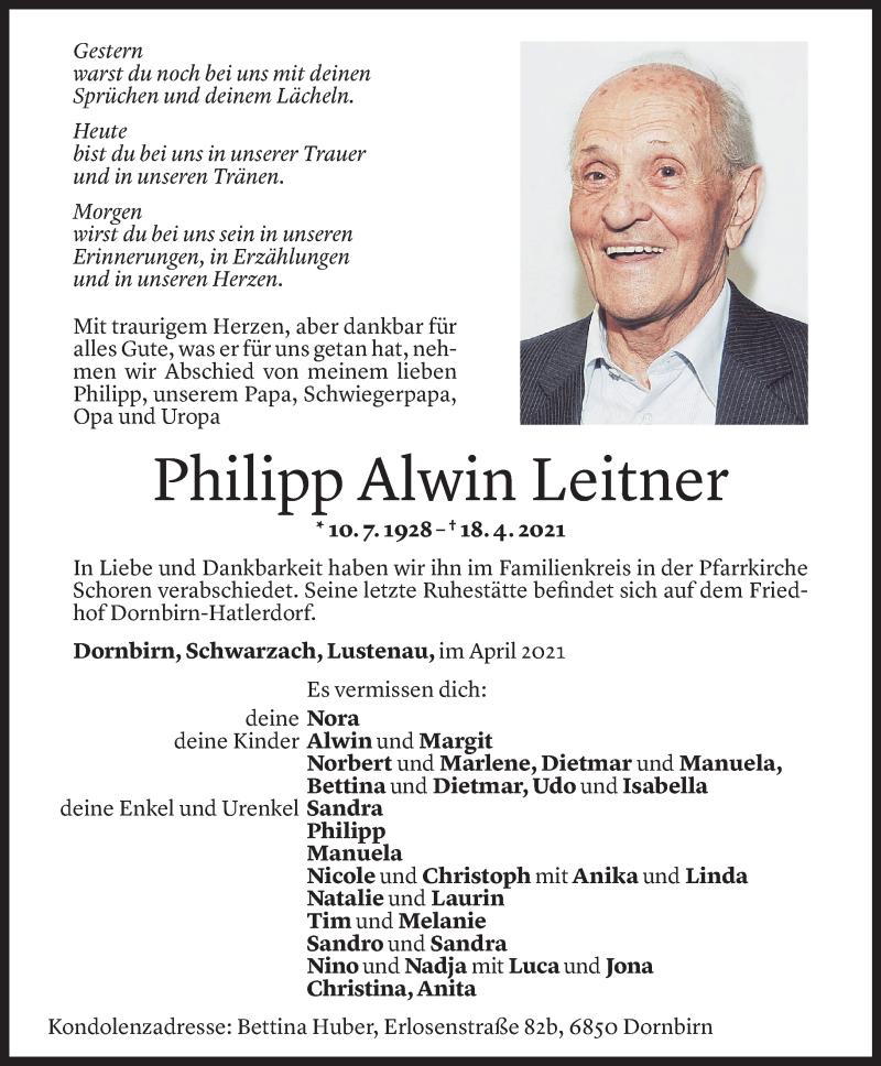 Todesanzeige für Philipp Alwin Leitner vom 03.05.2021 aus Vorarlberger Nachrichten