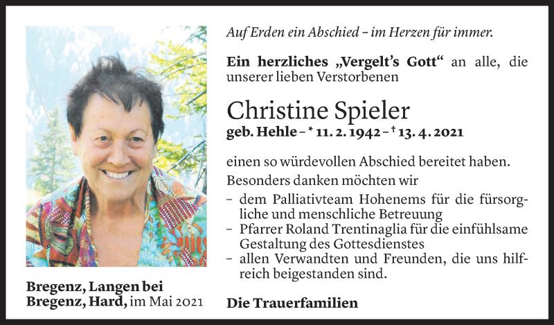 Todesanzeige für Christine Spieler vom 07.05.2021 aus Vorarlberger Nachrichten