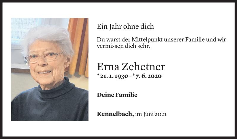 Todesanzeige für Erna Zehetner vom 04.06.2021 aus Vorarlberger Nachrichten