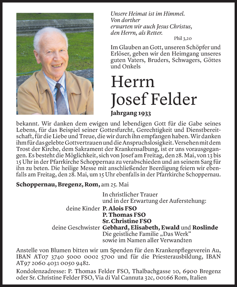 Todesanzeige für Josef Felder vom 27.05.2021 aus Vorarlberger Nachrichten