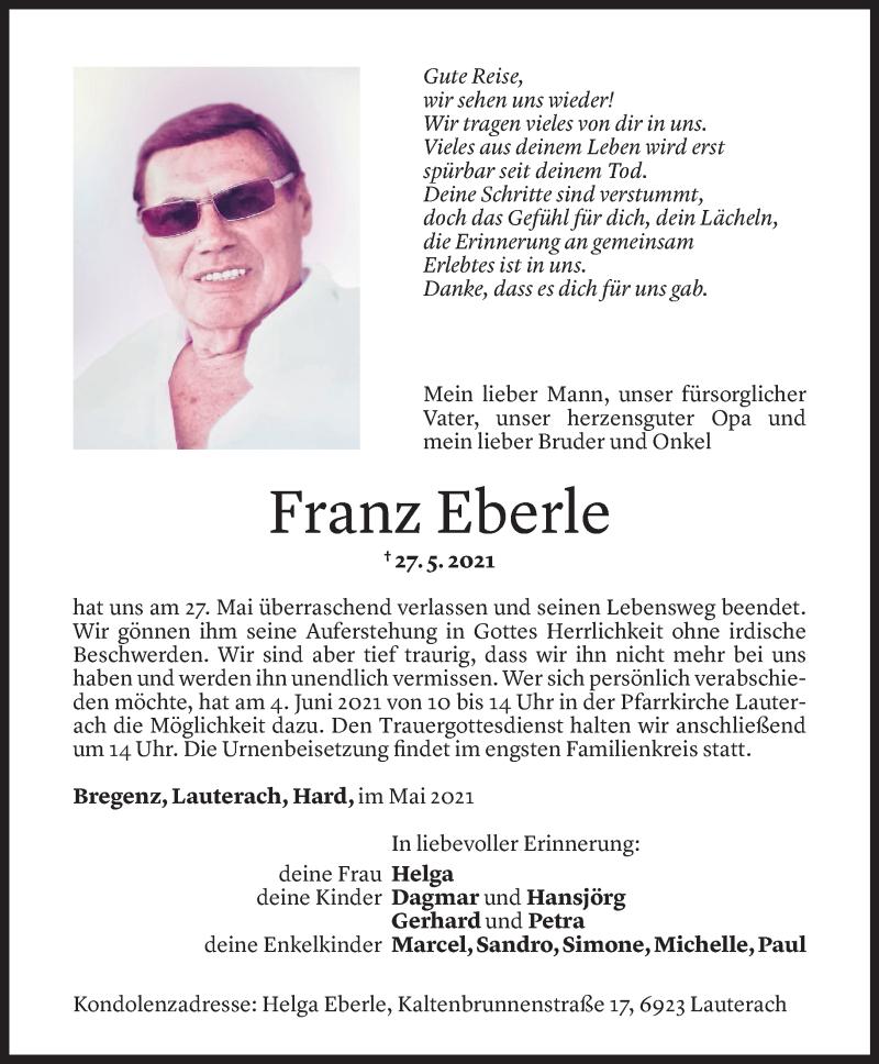 Todesanzeige für Franz Eberle vom 31.05.2021 aus Vorarlberger Nachrichten