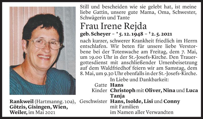 Todesanzeige für Irene Rejda vom 05.05.2021 aus Vorarlberger Nachrichten