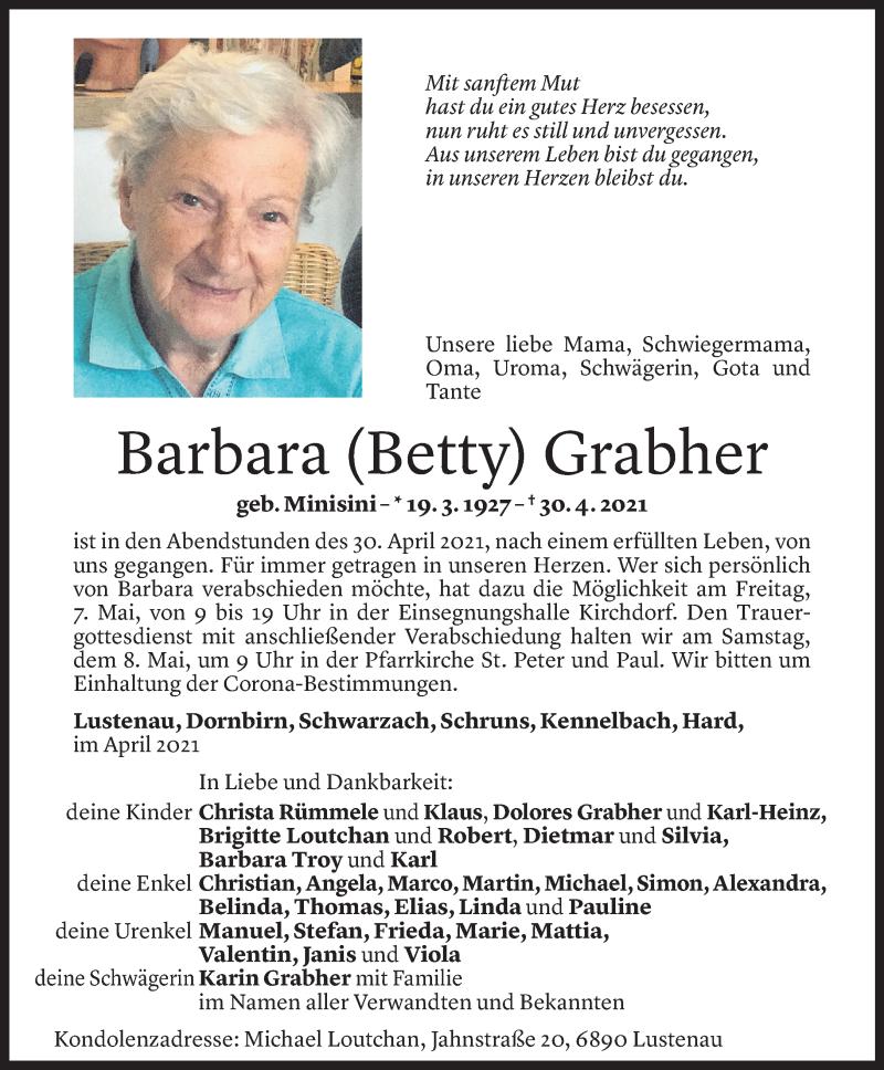 Todesanzeige für Barbara Grabher vom 04.05.2021 aus Vorarlberger Nachrichten