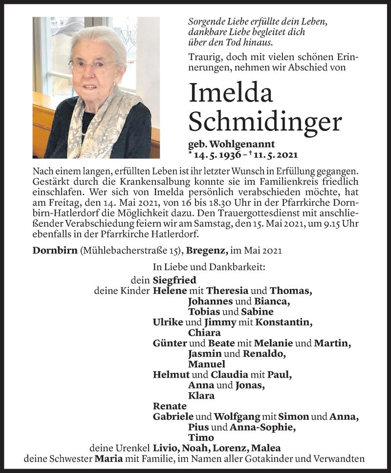 Todesanzeige für Imelda Schmidinger vom 12.05.2021 aus Vorarlberger Nachrichten