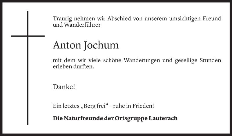 Todesanzeige für Anton Jochum vom 26.05.2021 aus Vorarlberger Nachrichten