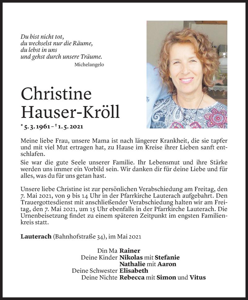 Todesanzeige für Christine Hauser-Kröll vom 04.05.2021 aus Vorarlberger Nachrichten