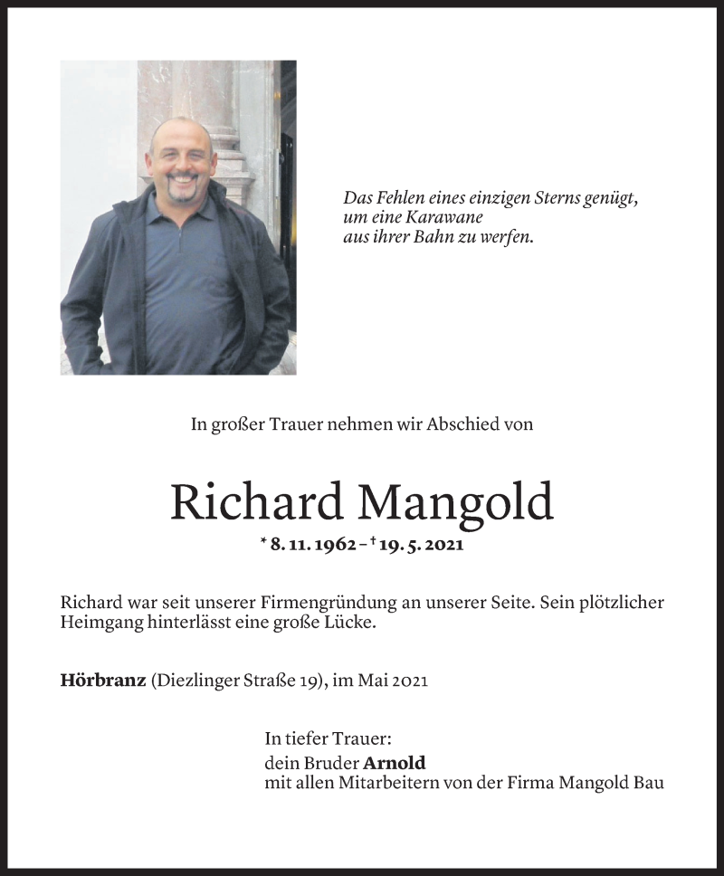 Todesanzeige für Richard Mangold vom 21.05.2021 aus Vorarlberger Nachrichten