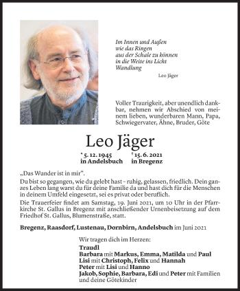 Todesanzeige von Leo Jäger von Vorarlberger Nachrichten