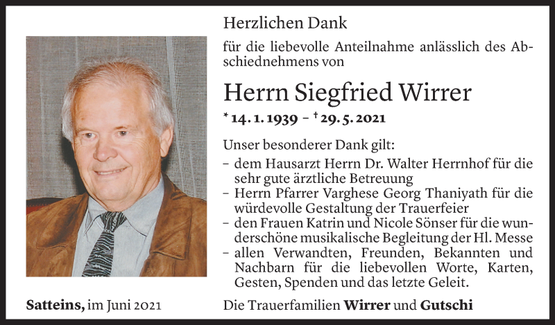 Todesanzeige für Siegfried Wirrer vom 18.06.2021 aus Vorarlberger Nachrichten