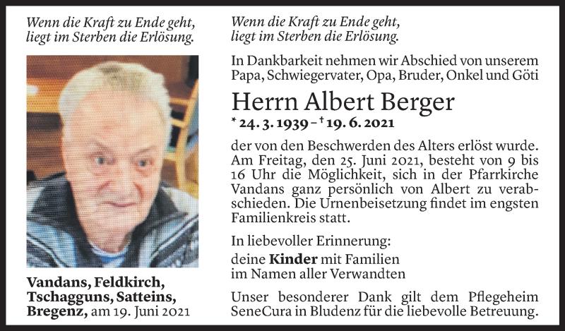 Todesanzeige für Albert Berger vom 23.06.2021 aus Vorarlberger Nachrichten