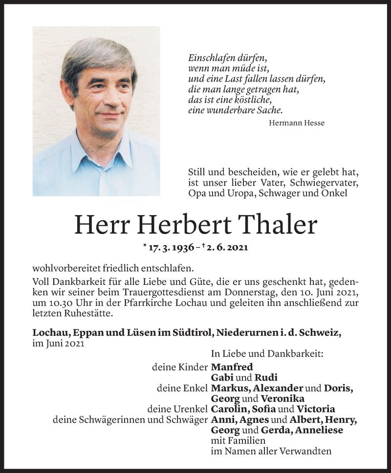 Todesanzeige für Herbert Thaler vom 07.06.2021 aus Vorarlberger Nachrichten