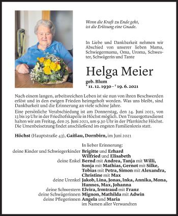 Todesanzeige von Helga Meier von Vorarlberger Nachrichten