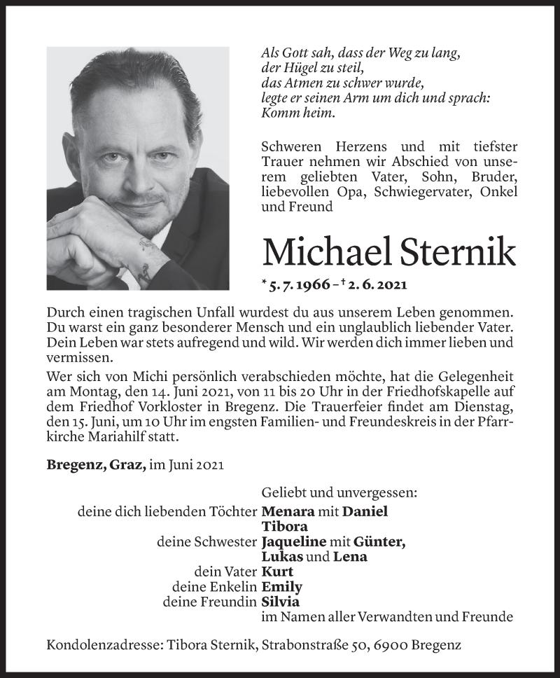 Todesanzeige für Michael Sternik vom 11.06.2021 aus Vorarlberger Nachrichten