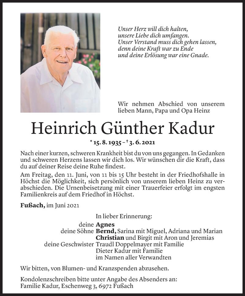 Todesanzeige für Heinrich Günther Kadur vom 08.06.2021 aus Vorarlberger Nachrichten
