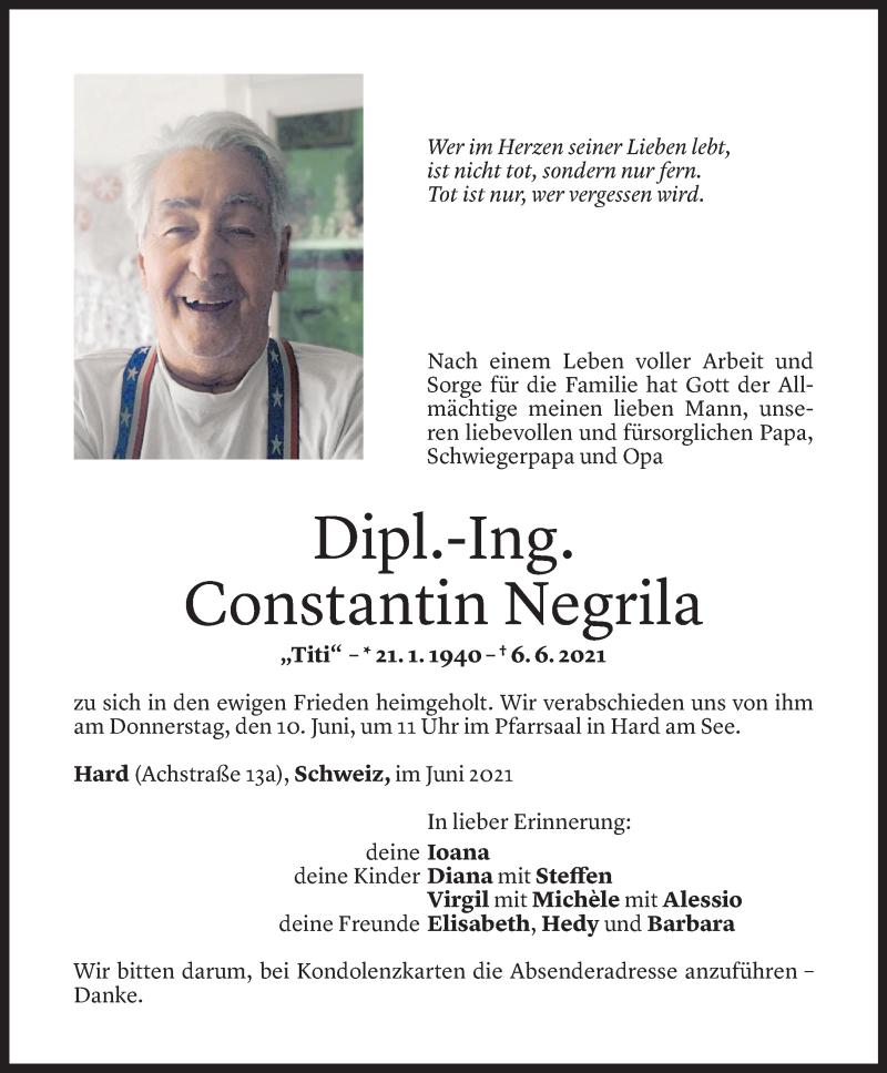 Todesanzeige für Constantin Negrila vom 08.06.2021 aus Vorarlberger Nachrichten