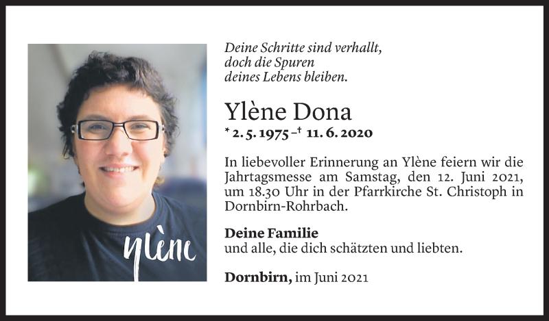 Todesanzeige für Ylene Dona vom 11.06.2021 aus Vorarlberger Nachrichten