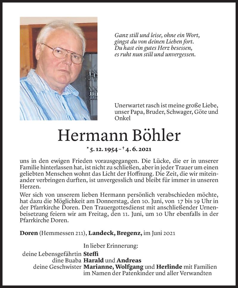 Todesanzeige für Hermann Böhler vom 08.06.2021 aus Vorarlberger Nachrichten