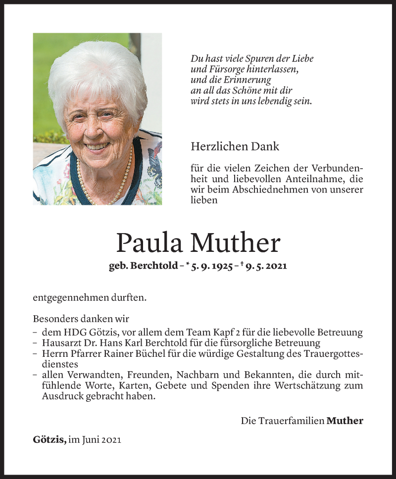 Todesanzeige für Paula Muther vom 11.06.2021 aus Vorarlberger Nachrichten