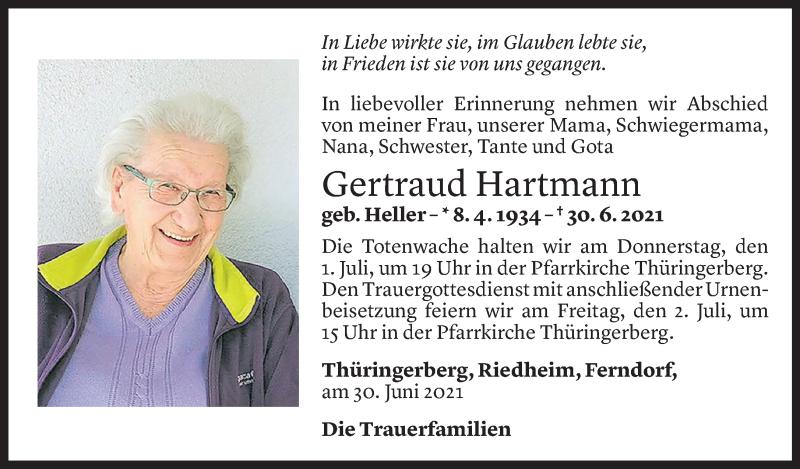 Todesanzeige für Gertraud Hartmann vom 30.06.2021 aus Vorarlberger Nachrichten