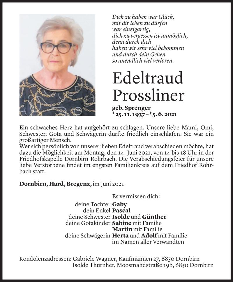 Todesanzeige für Edeltraud Prossliner vom 11.06.2021 aus Vorarlberger Nachrichten